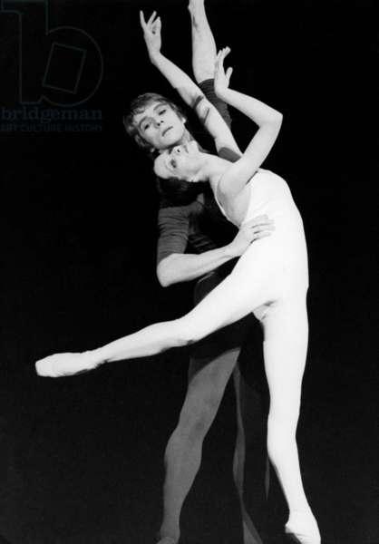 Michael Denard And Dominique Khalfouni In The Ballet 'Would That Death?' By Maurice Bejart June 6, 1979 At L'Opera De Paris. (b/w photo)