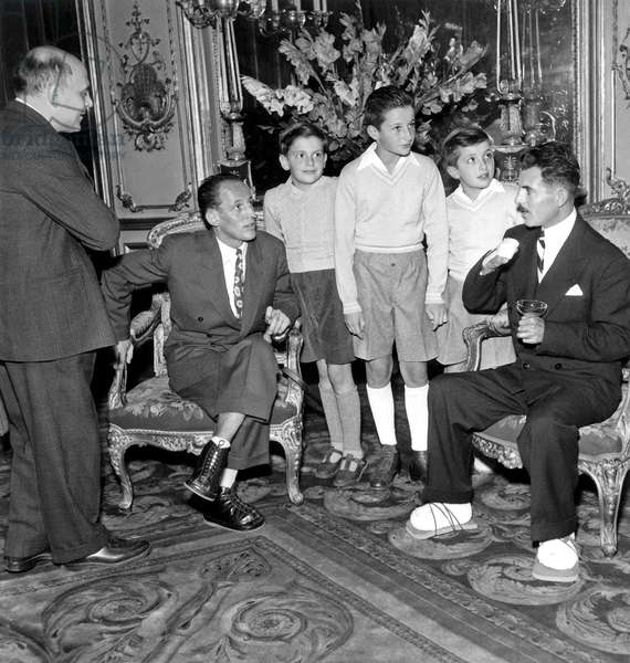 Members of The French Expedition in Nepal Which Climbed The Annapurna Received By French President at Elysee Palace : here Herzog (R) and Lachenal (L) Talking With The President'S Sons October 25, 1950 (b/w photo)