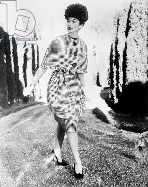 Italian Fashion : Suit By Simonetta, February 18, 1959 (b/w photo)