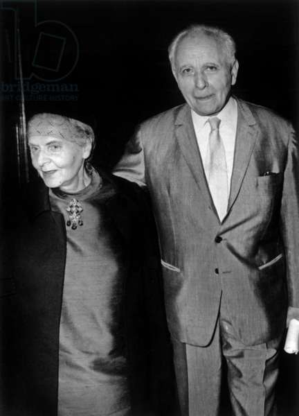 Louis Aragon and Elsa Triolet at a dress rehearsal of the play 'Gugusse, September 1968 (b/w photo)