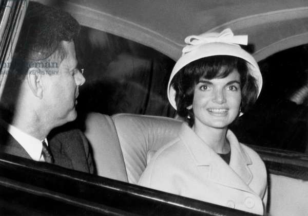 President John Kennedy and his Wife Jackie Leaving Elysee Palace in Paris June 02, 1961 (b/w photo)