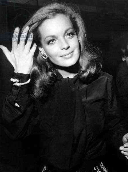 "Romy Schneider at Premiere of Film 'Thesensuous Assassin"" September 24, 1970 (Cartier Bracelet) (b/w photo)"