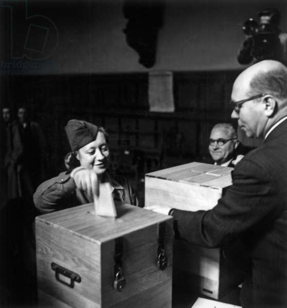 General Elections and Referendum in France October 21, 1945 Which Results Will Be The Rejection of The 1875 Constitution, The Maintaining of Provisional Government and Constituent Assembly (b/w photo)