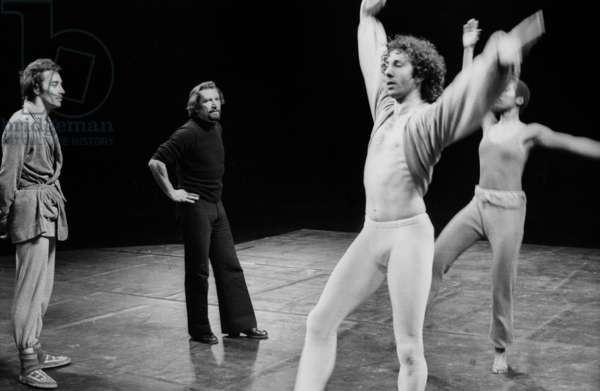 "Choreographer Maurice Bejart With Le Ballet Du Xxe Siecle during Rehearsal of Ballet ""Pli Selon Pli"" and ""Ce Que L'Amour Dit"" in Paris January 14, 1976 (b/w photo)"