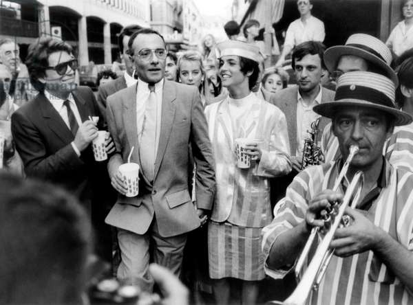 Bernard Tapie, Yves Mourousi and his Wife Veronique D'Alancon After Their Wedding. Nimes, France, September 30, 1985 (b/w photo)