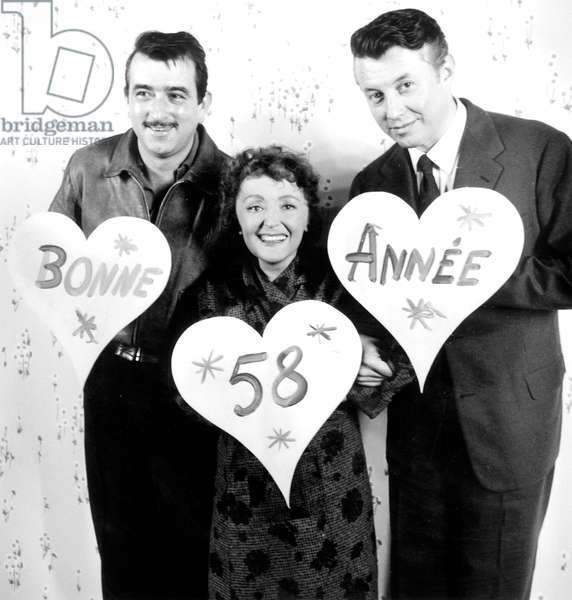Edith Piaf, Arnaud Mestral and Michel Auclair Whishing A Happy 1958 New Year on Set of Film