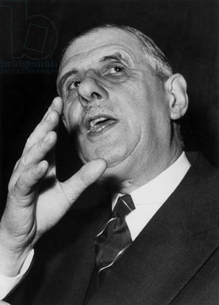 The General Charles De Gaulle at A Press Confenrence at The Orsay Palace in Paris, March 10, 1952 (b/w photo)