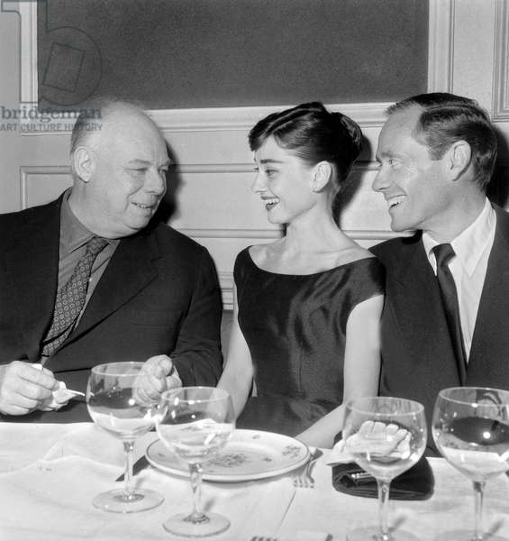 Jean Renoir, Audrey Hepburn Et Mel Ferrer on October 24, 1955 (b/w photo)