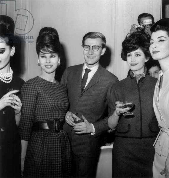 Yves Saint-Laurent and his Models After Dior Fashion Show on January 27, 1960 (b/w photo)