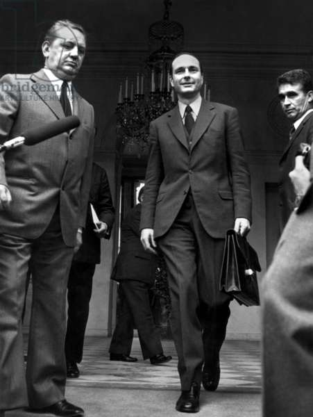 Jacques Chirac Has Just Been Appointed Prime Minister, here Leaving Elysee Palace in Paris, May 27, 1974 (b/w photo)