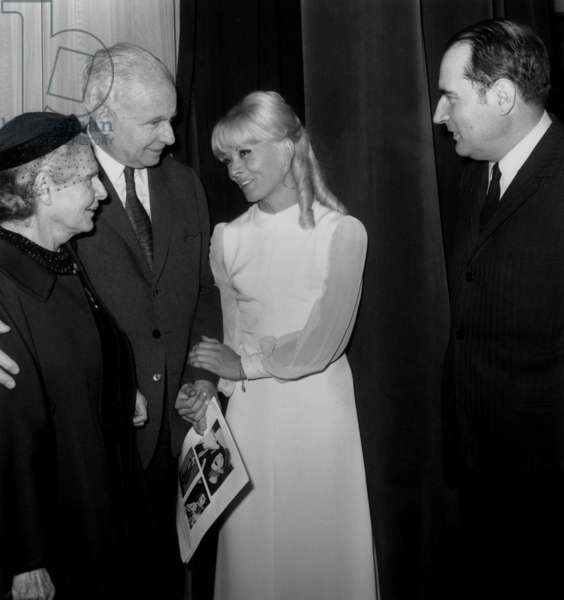 Isabelle Aubret After her Song Recital in Bobino on May 3, 1968 Behind The Scenes With Elsa Triolet, Louis Aragon, Isabelle Aubret and François Mitterrand (b/w photo)