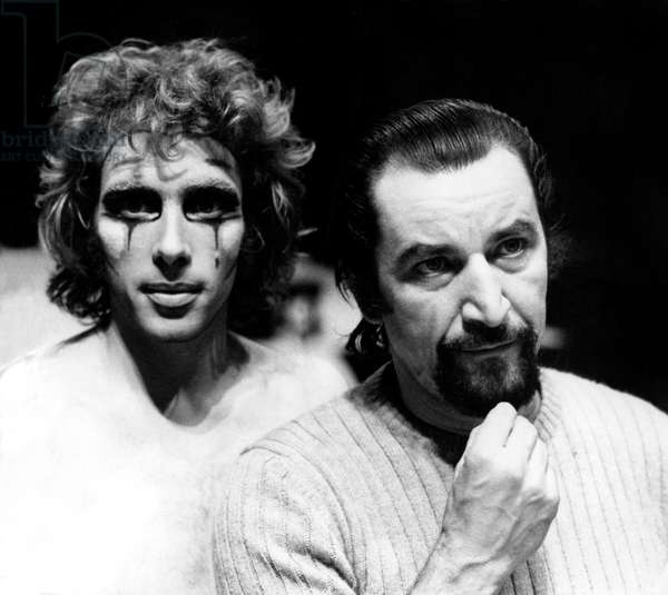 "Jorge Donn and Maurice Bejart during Rehearsals of Ballet ""Nijinski Clown De Dieu"" in Paris January 13, 1972 (b/w photo)"