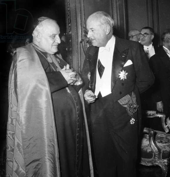 Reception Given at The Elysee, Paris, on February 23, 1949 : Angelo Giuseppe Roncalli (Future Pope John Xxiii) and Andre Francois-Poncet (b/w photo)