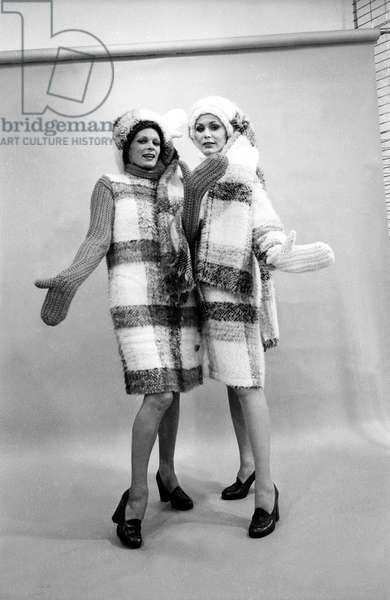 Presentation on July 22, 1973 of Fashion By Jacques Esterel For Autumn-Winter 1973-1974, France : 2 Mohair Coats (b/w photo)