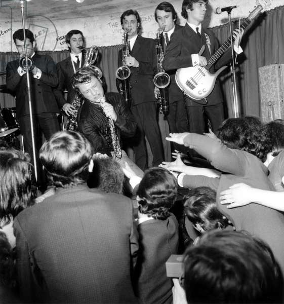 Johnny Hallyday Celebrating The 6Th Anniversary of his Beginnings in Golf Drouot in Paris February 26, 1966 (b/w photo)