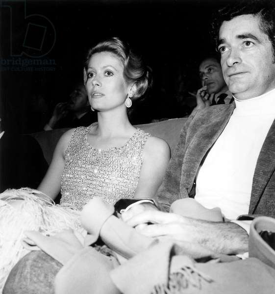Catherine Deneuve and Jacques Demy at Premiere of Film Donkey Skin December 16, 1970  (b/w photo)