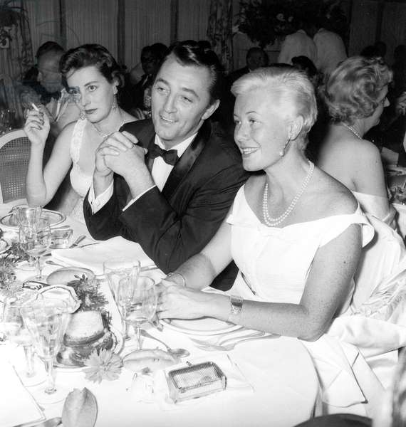 Robert Mitchum and his Wife Dorothy at Charity Ball August 29, 1955 (b/w photo)