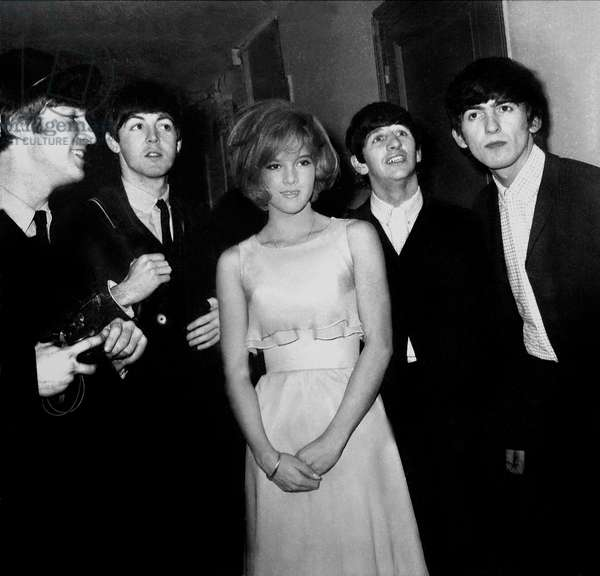 French Singer Sylvie Vartan Sang on First Part of The Beatles ' Show at Olympia, here With Ringo Starr, John Lennon, Paul McCartney and George Harrison January 16, 1964 (b/w photo)