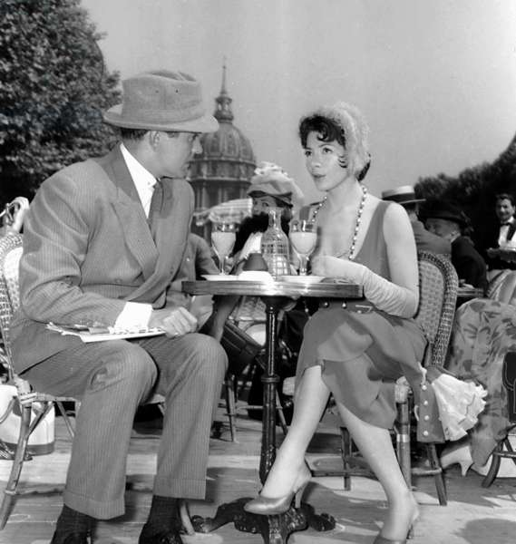 "Tyrone Power and Juliette Greco June 1St 1957 on Set of Film ""Le Soleil Se Leve Aussi"" (b/w photo)"