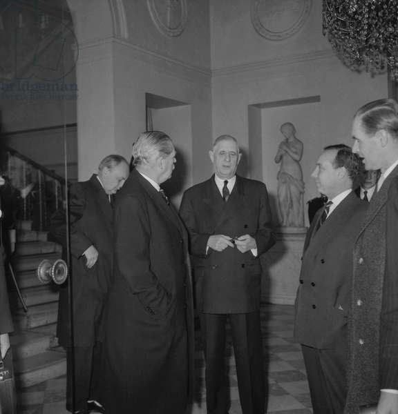 Summit conference at the Elysee, Paris, December 21, 1959 : Harold Macmillan, French president Charles de Gaulle, Michel Debre (b/w photo)