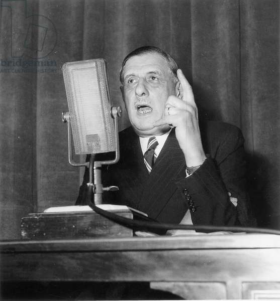 Press Conference of General Charles De Gaulle, President of The Rpf on March 28, 1949 (b/w photo)