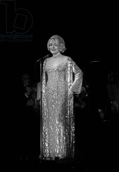 German Actress Marlene Dietrich (1901-1992) during A Gala in Paris For Disabled Childhood, June 19, 1973 (b/w photo)