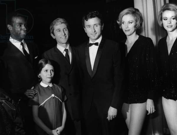 Premiere of French Singer Marcel Amont at The Olympia, Paris, 1967 : Roger Bambuck, Marcel Amont, Michel Jazy, Sisters Ellen and Alice Kessler, Front : Katia (Amont'S Daughter) (b/w photo)