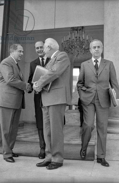Charles Pasqua, Jacques Chirac and Edouard Balladur (b/w photo)