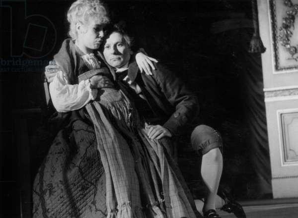 Francois Perier (Antonio Salieri),Sonia Vollereuw (Constance Weber Wife of Mozart) and Roman Polanski (Wolfgang Amadeus Mozart) in The Play Amadeus at The Marigny Theatre, January 25, 1982 (b/w photo)