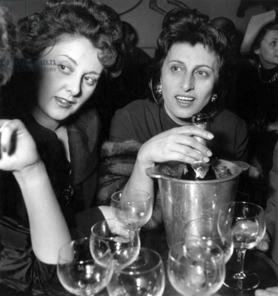 """Anna Magnani in Parisian Cabaret """"The Red Rose"""", Shortly After Separating From Robertorossellini May 01, 1949 (b/w photo)"""