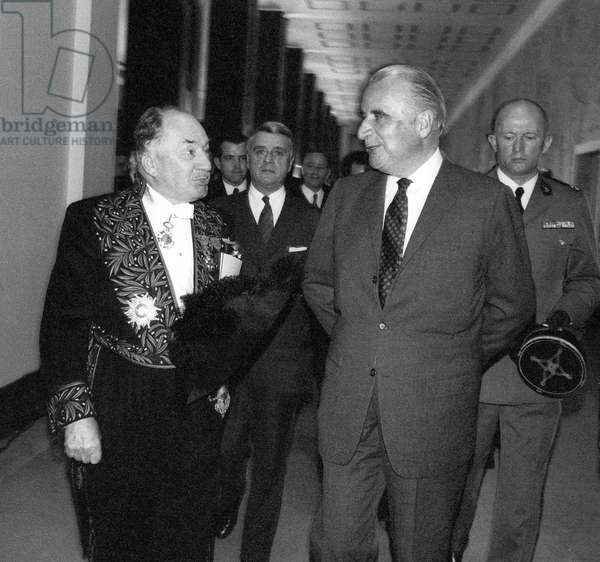 150Th Anniversary of Academy of Medecine : French President Georges Pompidou Welcome By The President of Academy Robert Courrier at The Palais De Chaillot in Paris, April 18, 1972 (b/w photo)