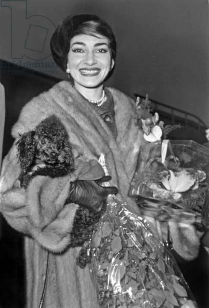 Maria Callas , Holding her Poodle Bellini in her Arms, Arriving at Paris Airport January 16, 1958 (b/w photo)