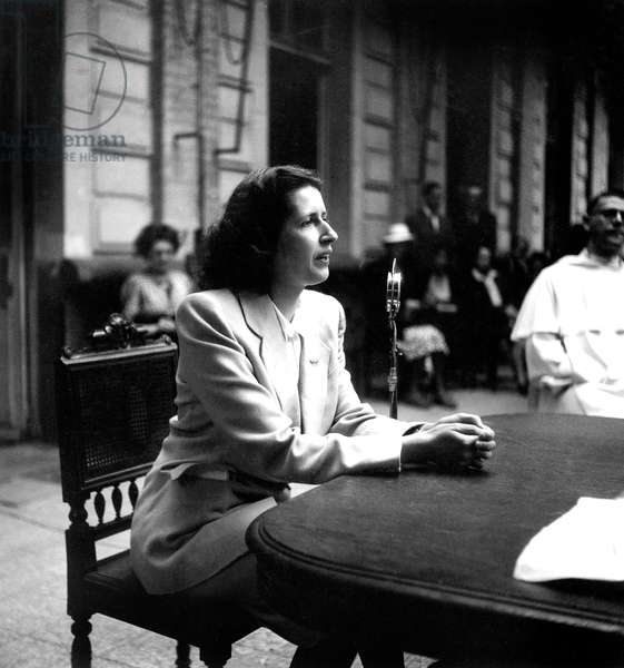 Genevieve de Gaulle Anthonioz, testifying on her return from Ravensbruck Concentration Camp, 19th June 1945 (b/w photo)
