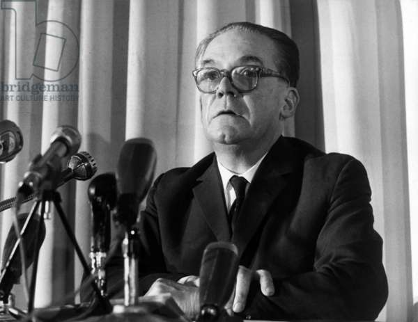 Paul Antier, Peasant Candidate in the Presidential Election Holds his First Press Conference in the Salons of Hotel Lutetia on October 27, 1965. (b/w photo)