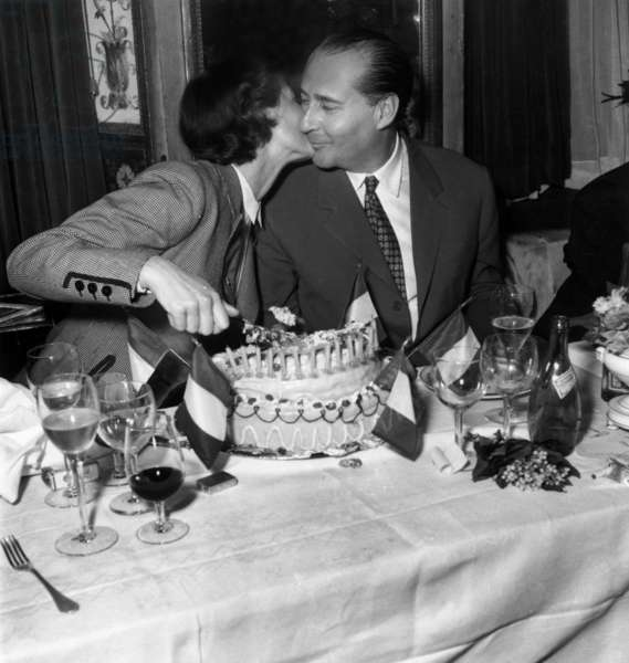 Ingrid Bergman and her 2Nd Husband Roberto Rossellini For his Birthday (45 Years Old), May 8, 1951, Paris (b/w photo)
