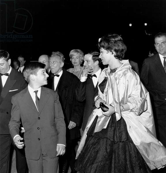 "Jean Pierre Leaud Jean Cocteau Francois Truffaut and Claire Maurier at Cannes Film Festival May 9, 1959 For Film ""Four Hundred Blows"" (b/w photo)"