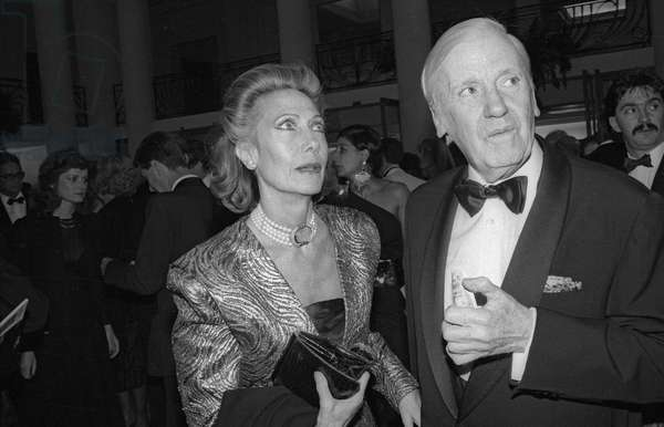 Helene Rochas at gala in tribute of CharlesTrenet, Thatre des Champs Elysees, Paris, September 28, 1987 (b/w photo)