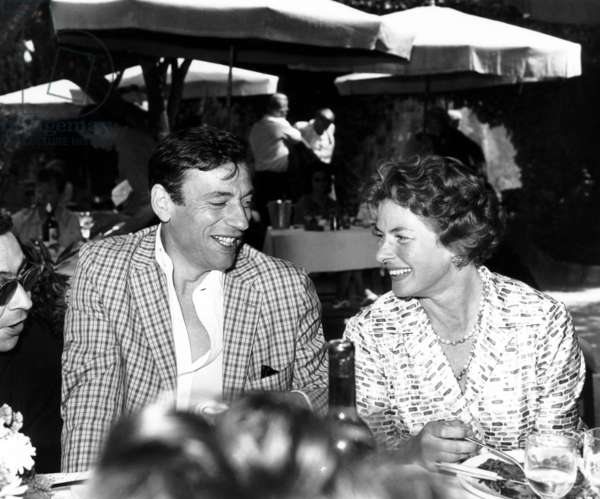 Actors Yves Montand and Ingrid Bergman in Cannes 1961 (b/w photo)