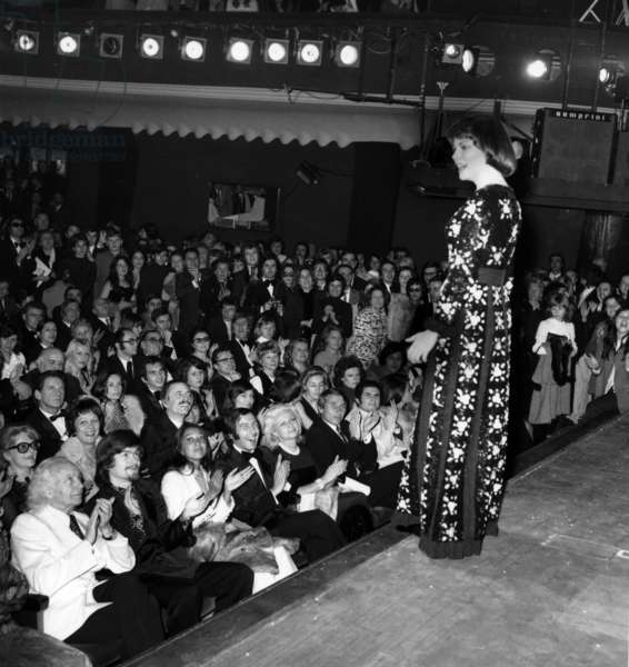 French Singer Mireille Mathieu on Stage at The Olympia, Paris, February 8, 1973 (b/w photo)