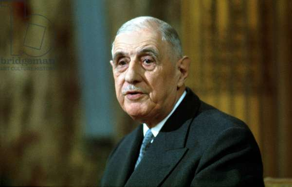French President Charles De Gaulle during A Press Conference on November 27, 1967 (photo)