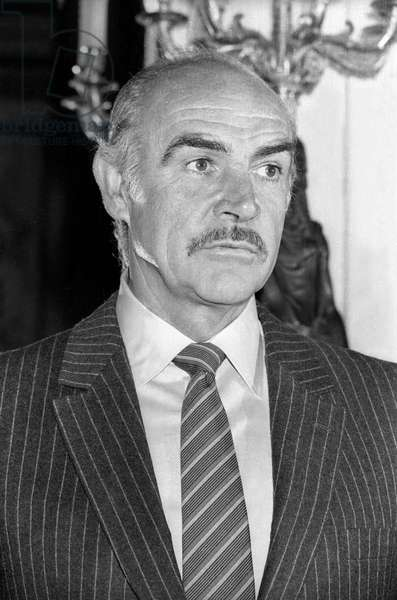 Scottish actor Sean Connery at his Arts and Letters awarding ceremony in Paris on March 6, 1987