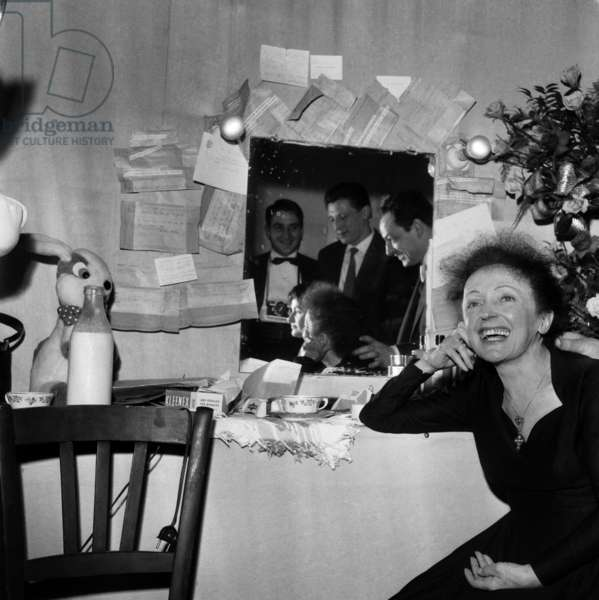 French Singer Edith Piaf After Concert in Backstage at Olympia in Paris December 30, 1960 (b/w photo)