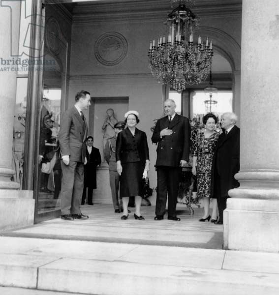 David Ben Gourion Israeli Prime Minister during his Visit at Elysee Palace in Paris here With French President Charles De Gaulle June 06, 1961 , With Them Are Mrs Ben Gourion and Yvonne De Gaulle (b/w photo)