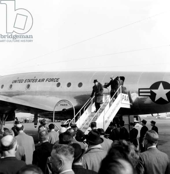 American Secretary of State To Foreign Affairs John Foster Dulles Arriving in Paris Airport Aboard Pan Am Airline April 13, 1954 To Discuss The Situation in Indochina With French Foreign Minister Georgesbidault (b/w photo)