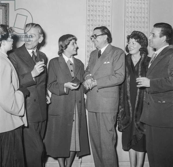 Prix Suzanne Bianchetti (prize given to a promising young actress), Paris, October 17, 1950 : Raymond Bernard, Christiane Lainier (prize-winner), Rene Jeanne, June Astor and Christian Jaque (b/w photo)