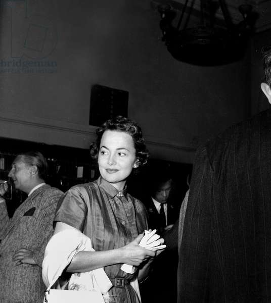 Olivia De Havilland at Cannes Film Festival April 09, 1954 (b/w photo)