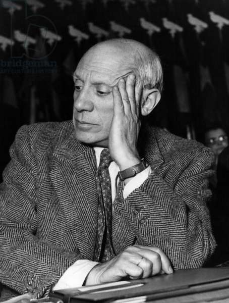 Pablo Picasso at Meeting For Peace in Paris 1949 (b/w photo)