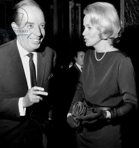 Film Director Vincente Minnelli and Actress Eva Marie Saint at A Cocktail in Honour For Liztaylor and Richardburton October 13, 1964 (b/w photo)
