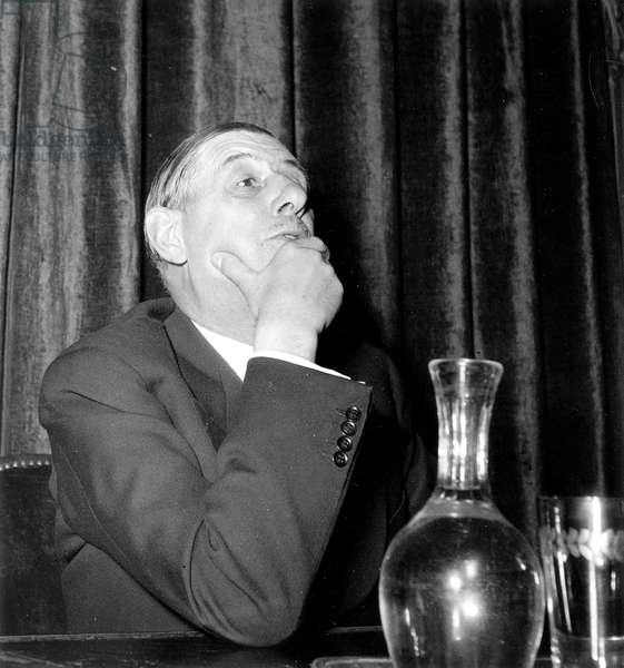 Charles De Gaulle during Press Conference October 1, 1948 (b/w photo)