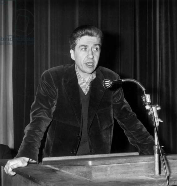 Speech of French Film Director Alain Resnais during Mutualité Meeting Against Censorship April 27, 1966 (b/w photo)